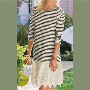 SOFT SURROUNDINGS Left Bank Dress Lace Shift Strip